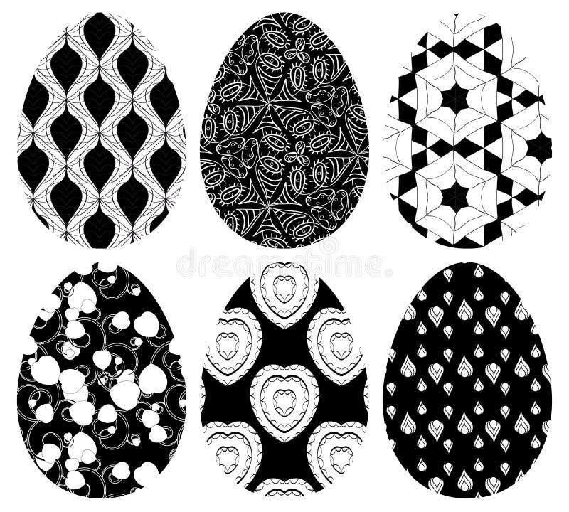 Grupo do Monochrome de ovos da páscoa com teste padrão ilustração stock