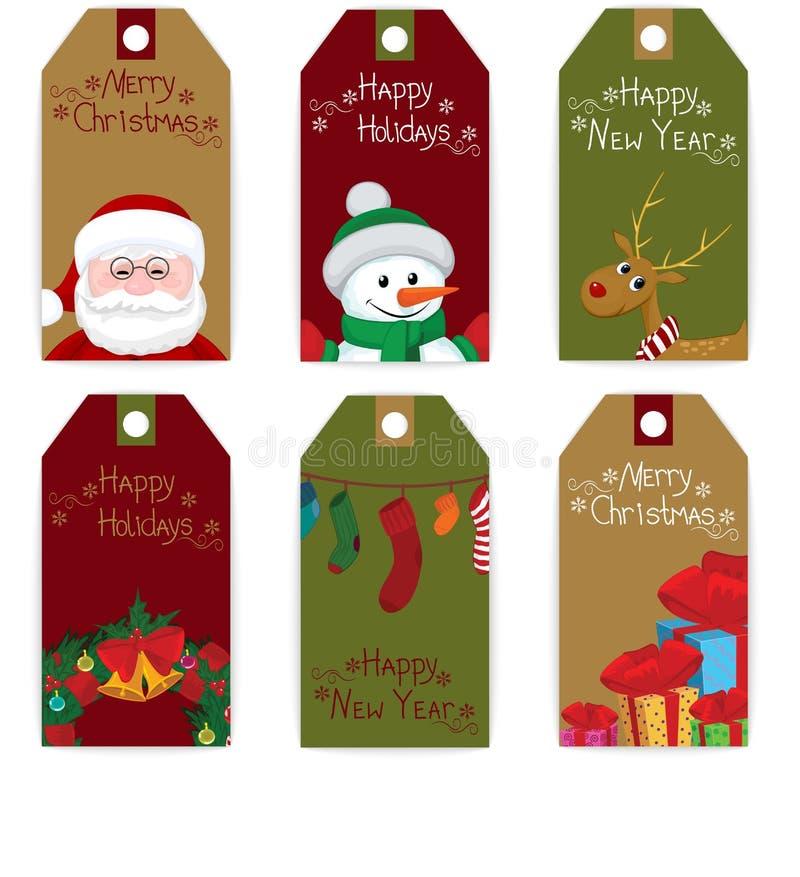 Grupo do Natal da etiqueta ilustração stock