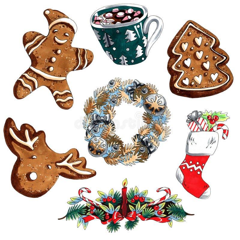 Grupo do Natal da ilustração do marcador de grinalda, pão-de-espécie, peúga do presente isolada no fundo branco para a propa ilustração royalty free