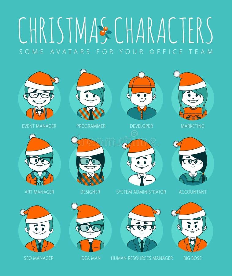 Grupo do Natal de avatars sua equipe do escritório ilustração do vetor