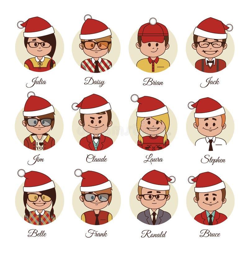 Grupo do Natal de avatars sua equipe do escritório ilustração royalty free
