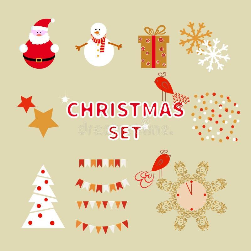 Grupo do Natal de caráteres do feriado e de elementos decorativos ilustração do vetor
