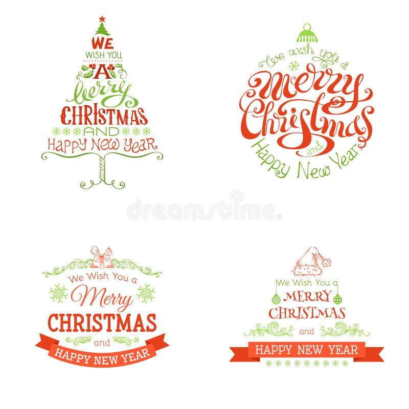 Grupo do Natal de etiquetas e de emblemas ilustração royalty free