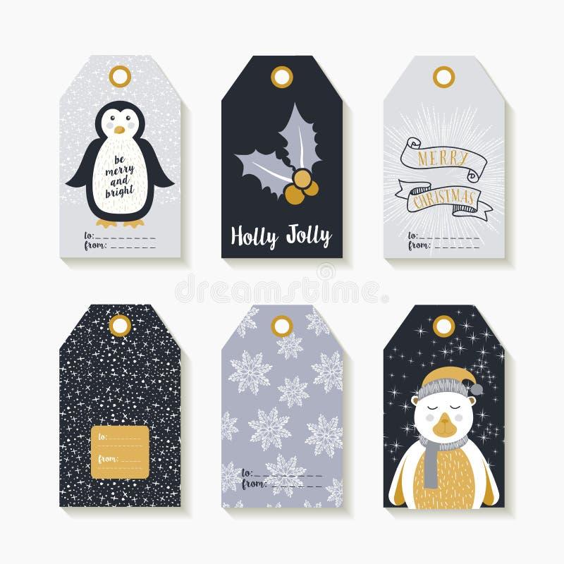 Grupo do Natal de etiquetas e de etiquetas para presentes de época natalícia ilustração do vetor