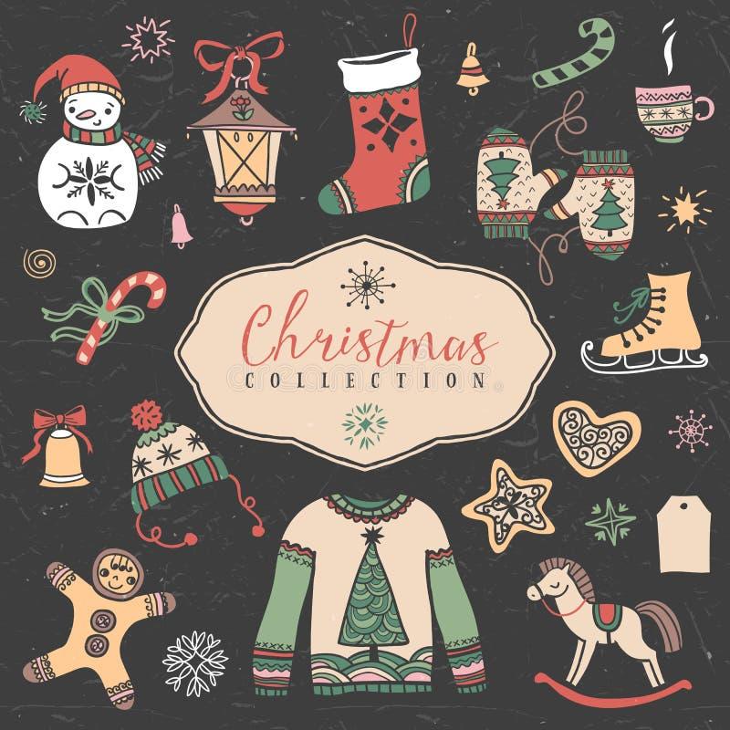 Grupo do Natal de ilustrações festivas tiradas mão ilustração royalty free