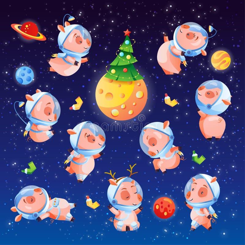 Grupo do Natal de porcos engraçados no espaço com árvore e planetas Símbolo chinês de 2019 anos Coleção da ilustração do vetor ilustração royalty free