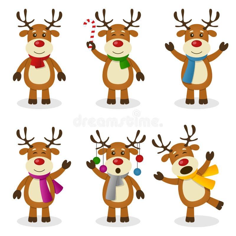 Grupo do Natal dos desenhos animados da rena ilustração stock