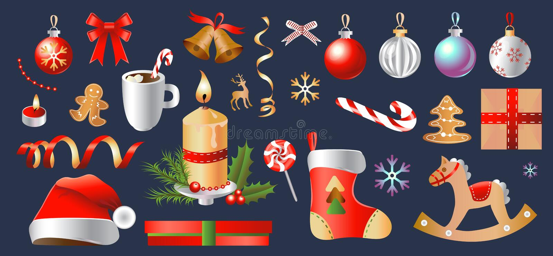 Grupo do Natal e do ano novo feliz Coleção de objetos e de decorações do partido Ilustração isolada do vetor ilustração stock