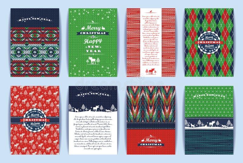 Grupo do Natal e do ano novo Fundos feitos malha ilustração stock