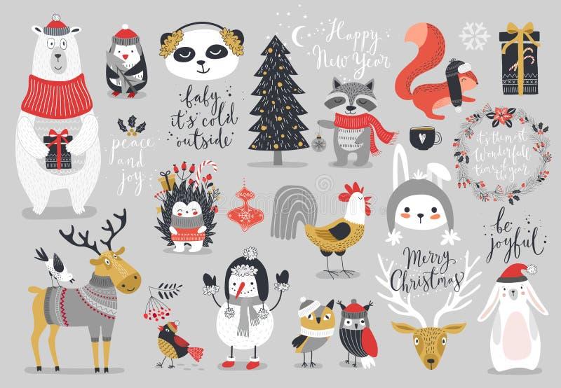 Grupo do Natal, estilo tirado mão - caligrafia, animais e outros elementos ilustração royalty free