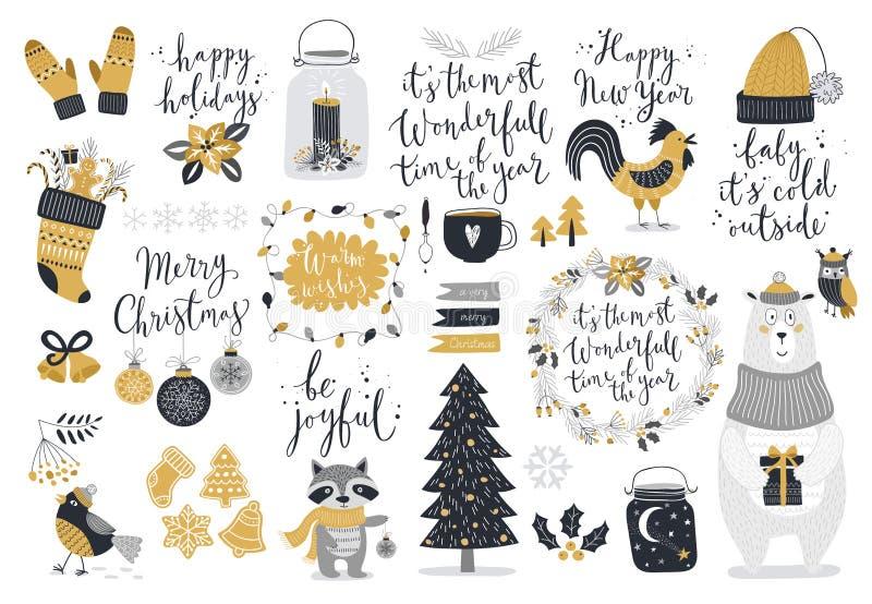 Grupo do Natal, estilo tirado mão - caligrafia, animais e outros elementos ilustração do vetor