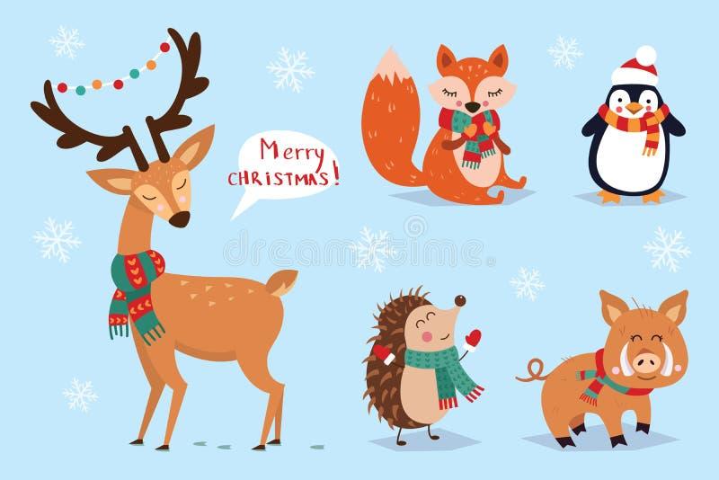 Grupo do Natal, estilo tirado mão - caligrafia, animais e outros elementos Ilustração do vetor ilustração royalty free