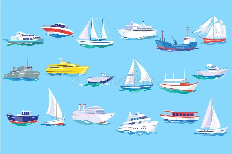 Grupo do navio, do barco e do iate do mar, oceano ou ilustração do vetor do conceito do transporte marinho no estilo liso, ilustração do vetor