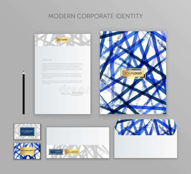 Grupo do negócio da identidade corporativa Projeto moderno do molde dos artigos de papelaria Documentação para o negócio ilustração stock