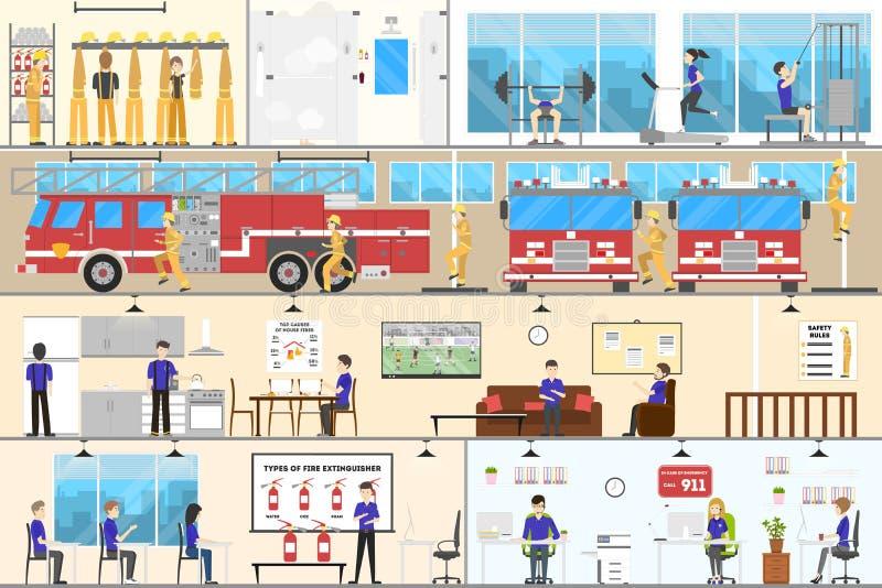 Grupo do nterior do quartel dos bombeiros ilustração royalty free