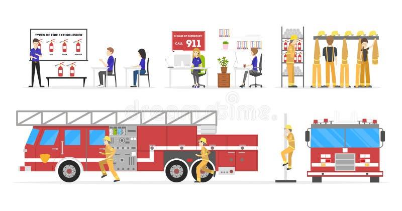 Grupo do nterior do quartel dos bombeiros ilustração do vetor