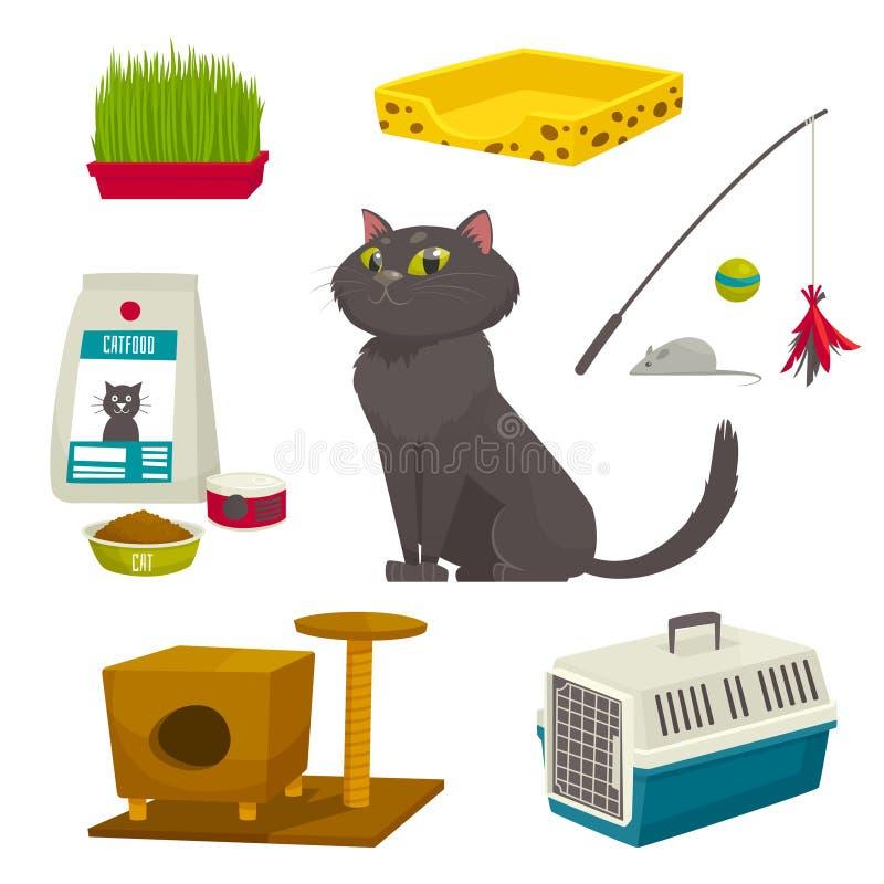Grupo do objeto do gato, artigos e material, ilustração dos desenhos animados do vetor foto de stock royalty free