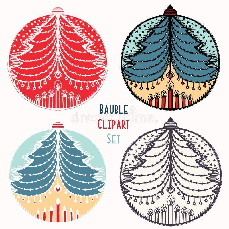 Grupo do ornamento da quinquilharia das velas da árvore de Natal Elemento festivo isolado do projeto Ícone do clipart do feriado  ilustração royalty free
