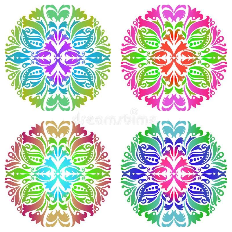 Grupo do ornamento quatro colorido ilustração do vetor