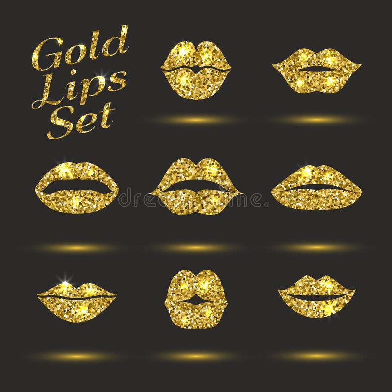 Grupo do ouro dos bordos Elemento do brilho do projeto Engrena o ?cone A ilustração do vetor da cópia do beijo com vislumbra ilustração stock