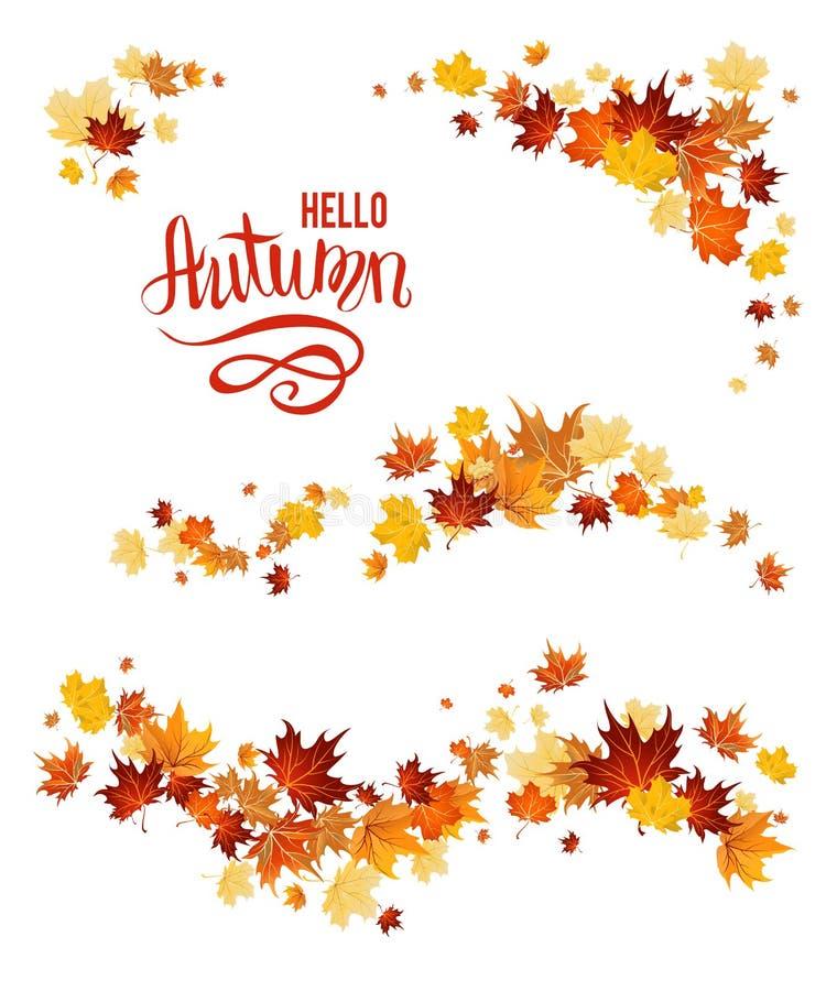 Grupo do outono de folhas de bordo ilustração stock