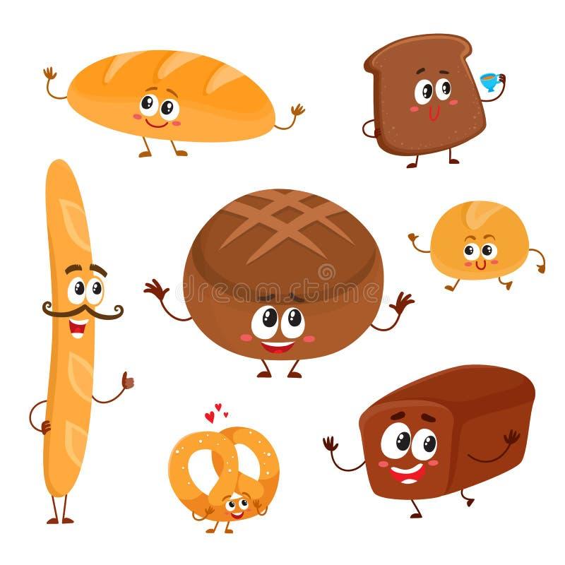 Grupo do pão engraçado, caráteres da padaria com rostos humanos ilustração do vetor