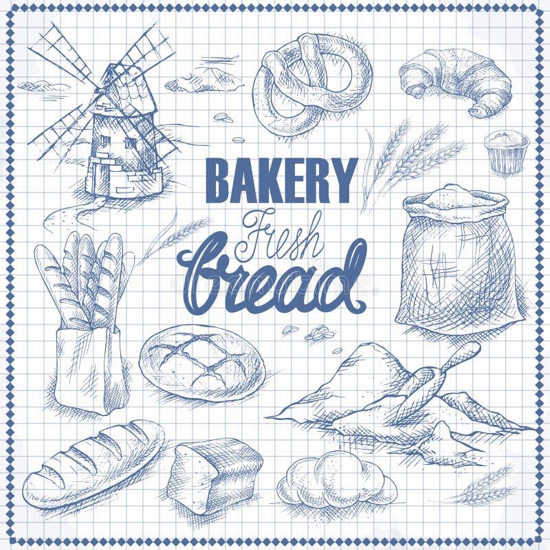Grupo do pão Esboço da pena ilustração stock