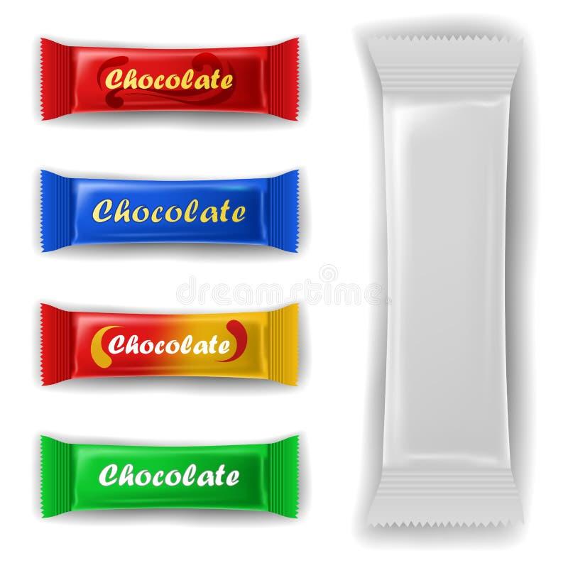 Grupo do pacote da barra de chocolate ilustração do vetor