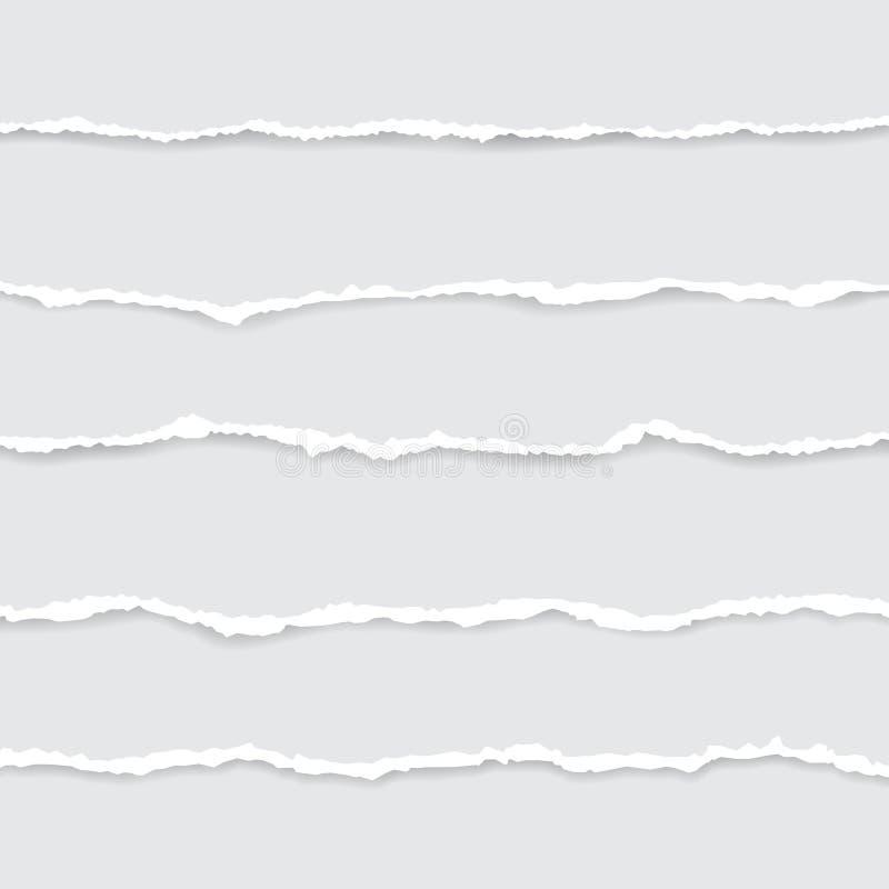 Grupo do papel rasgado branco Ilustra??o do vetor com sombras foto de stock