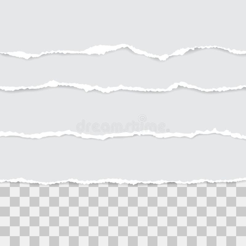 Grupo do papel rasgado branco Ilustra??o do vetor com sombras imagem de stock