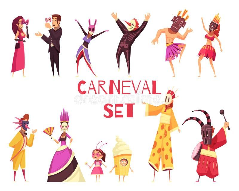 Grupo do partido do carnaval ilustração stock