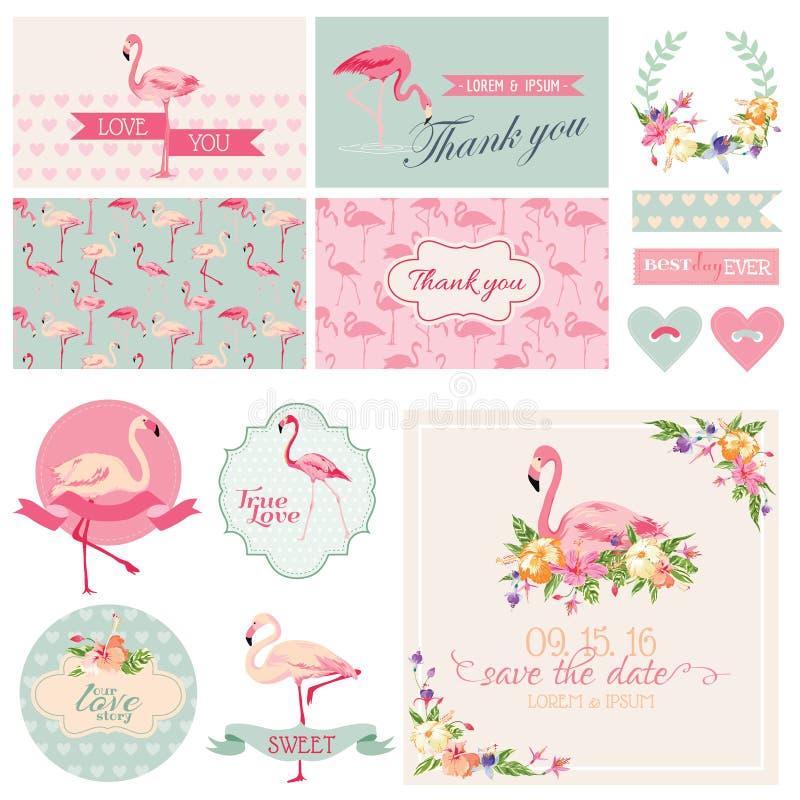 Grupo do partido do flamingo ilustração do vetor