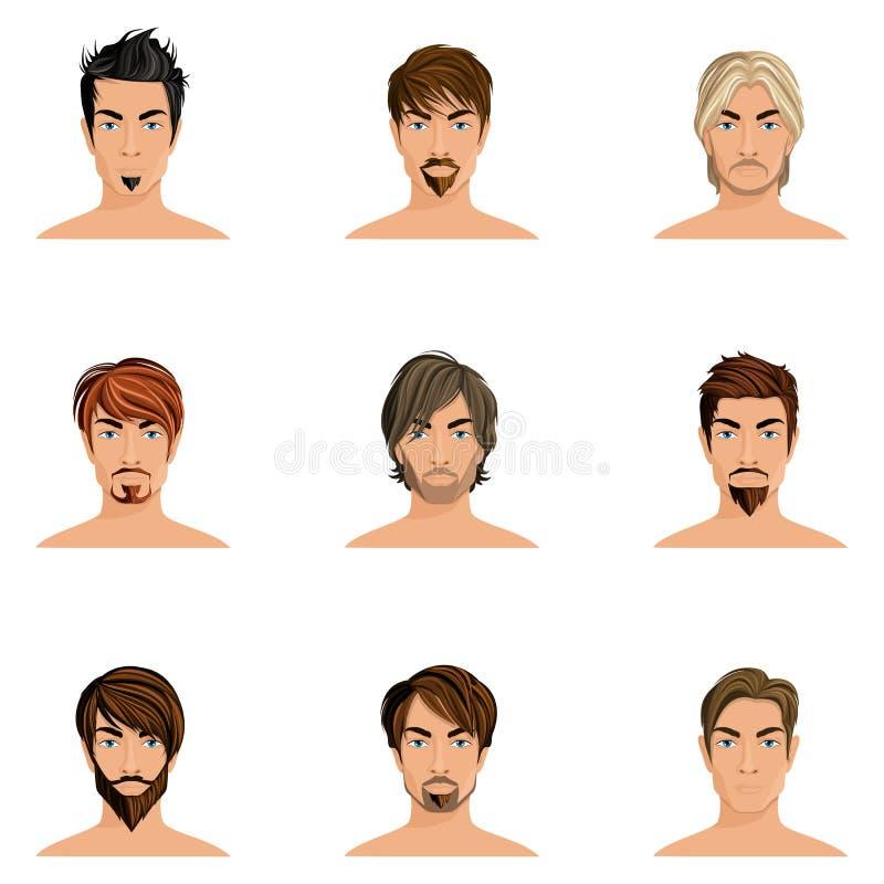 Grupo do penteado do homem ilustração royalty free