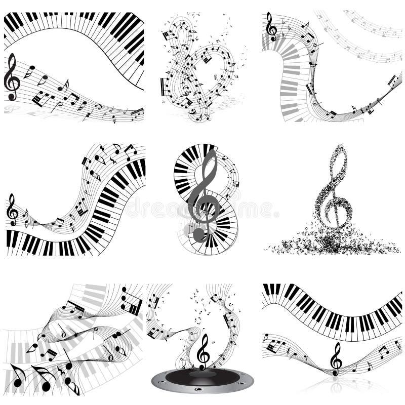 Grupo Do Pessoal Das Notas Musicais Ilustração do Vetor