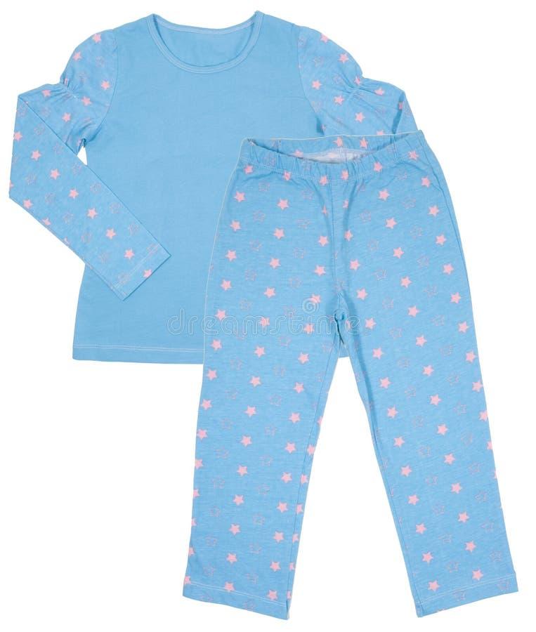 Grupo do pijama das meninas das crianças azuis do algodão isolado fotografia de stock