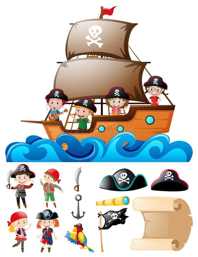 Grupo do pirata com as crianças no navio e nos outros elementos ilustração do vetor