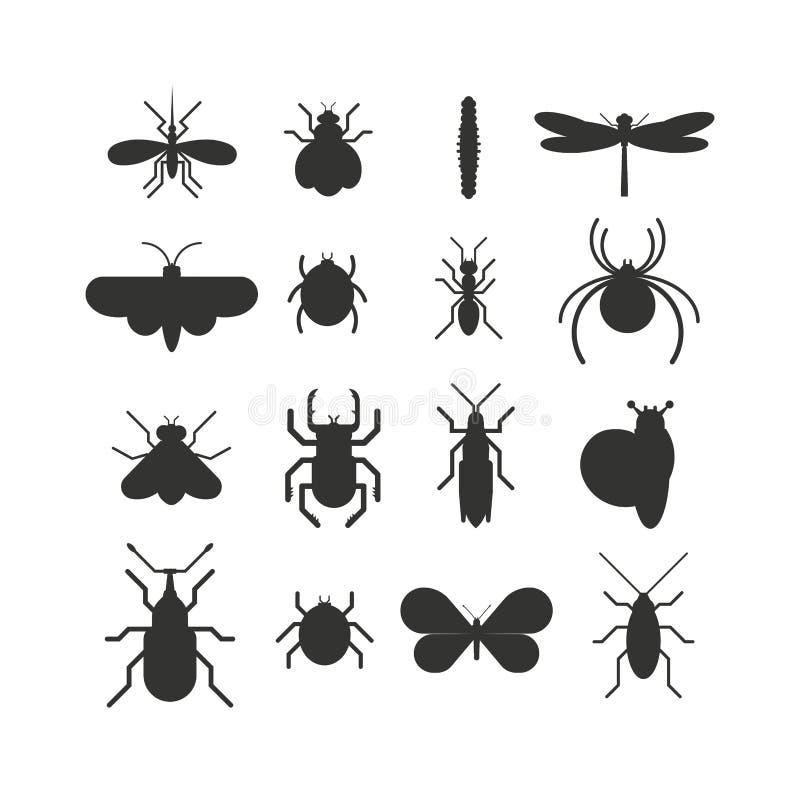 Grupo do plano da silhueta do preto do ícone do inseto isolado no fundo branco ilustração stock