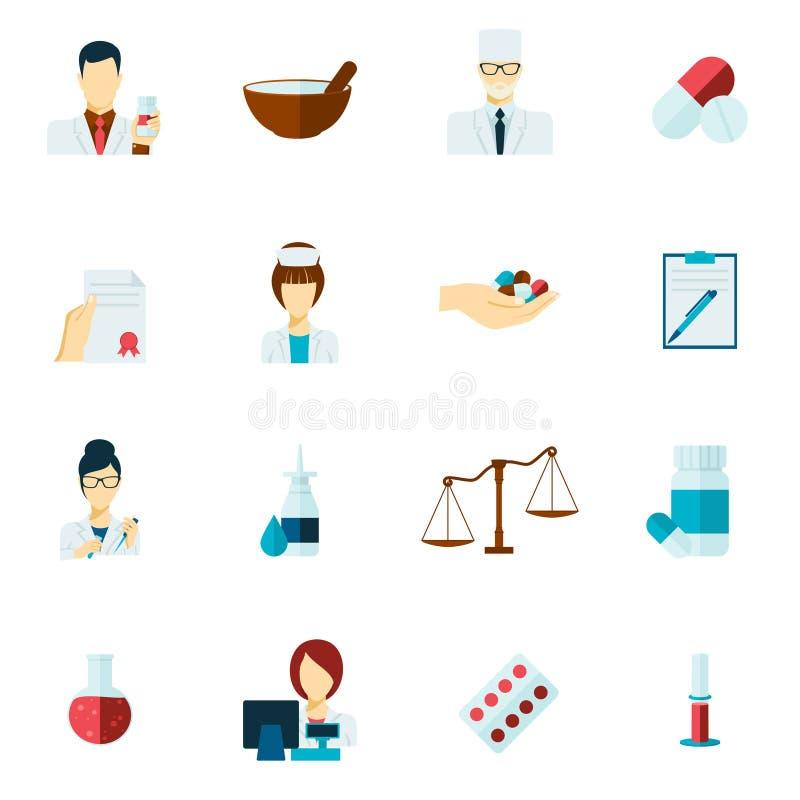 Grupo do plano do ícone do farmacêutico ilustração do vetor