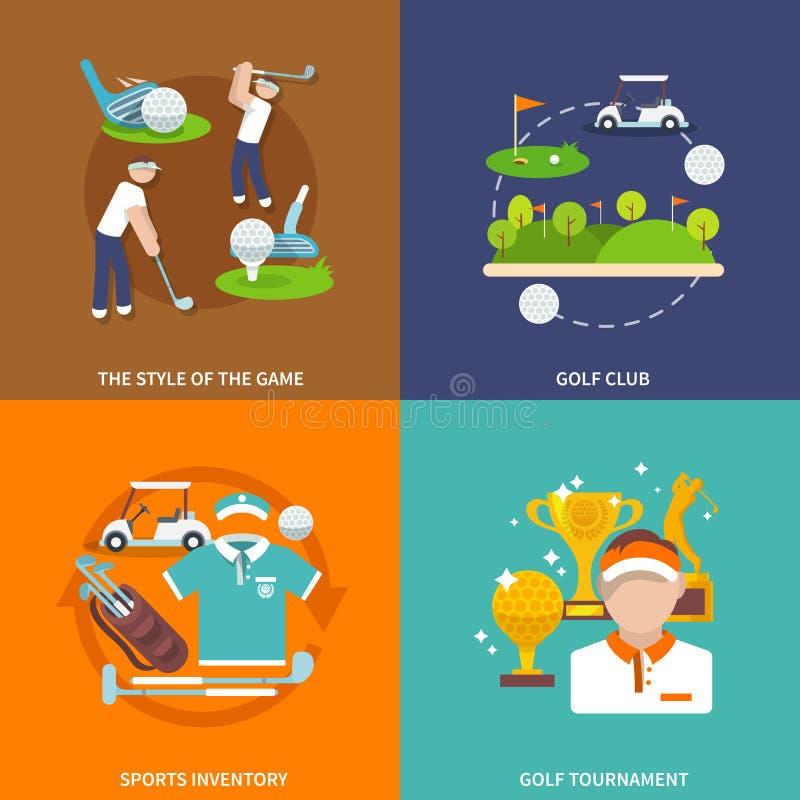 Grupo do plano do golfe ilustração stock