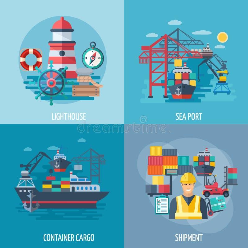 Grupo do plano do porto marítimo ilustração do vetor