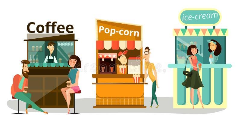 Grupo do plano dos ícones do alimento da rua do vetor ilustração royalty free