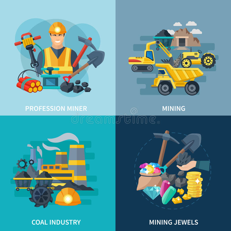 Grupo do plano dos ícones da mineração ilustração stock