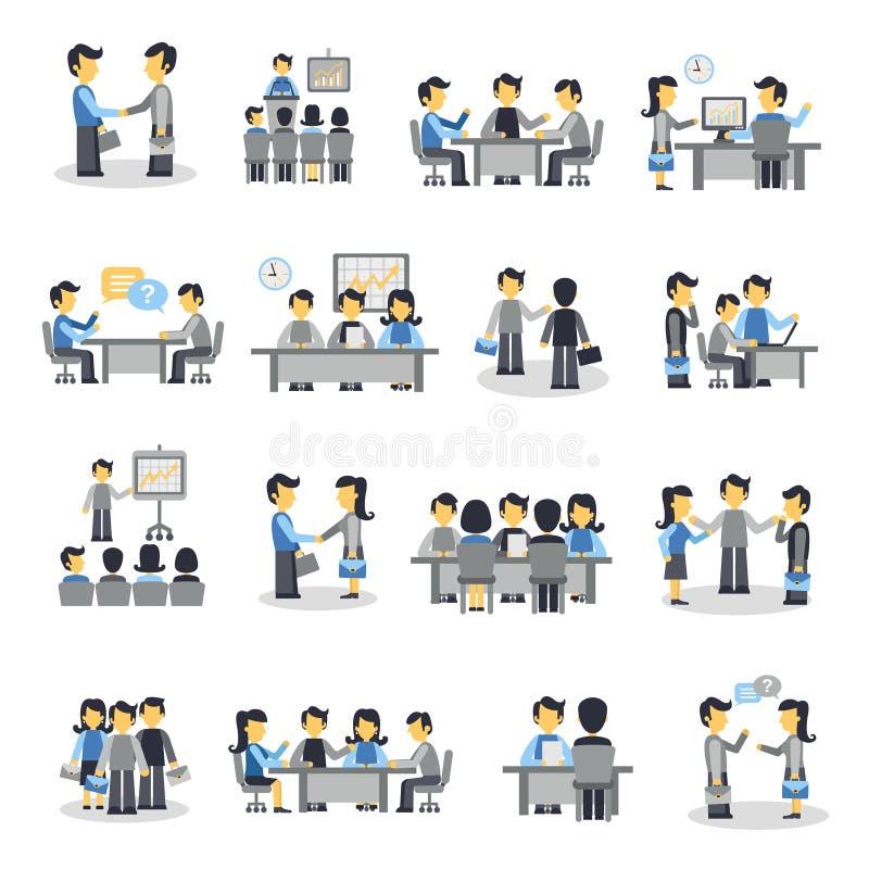 Grupo do plano dos ícones da reunião ilustração royalty free