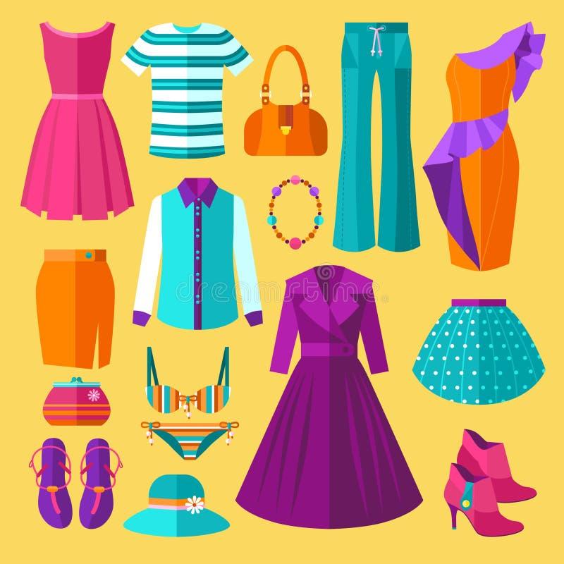 Grupo do plano dos ícones da roupa das mulheres imagem de stock