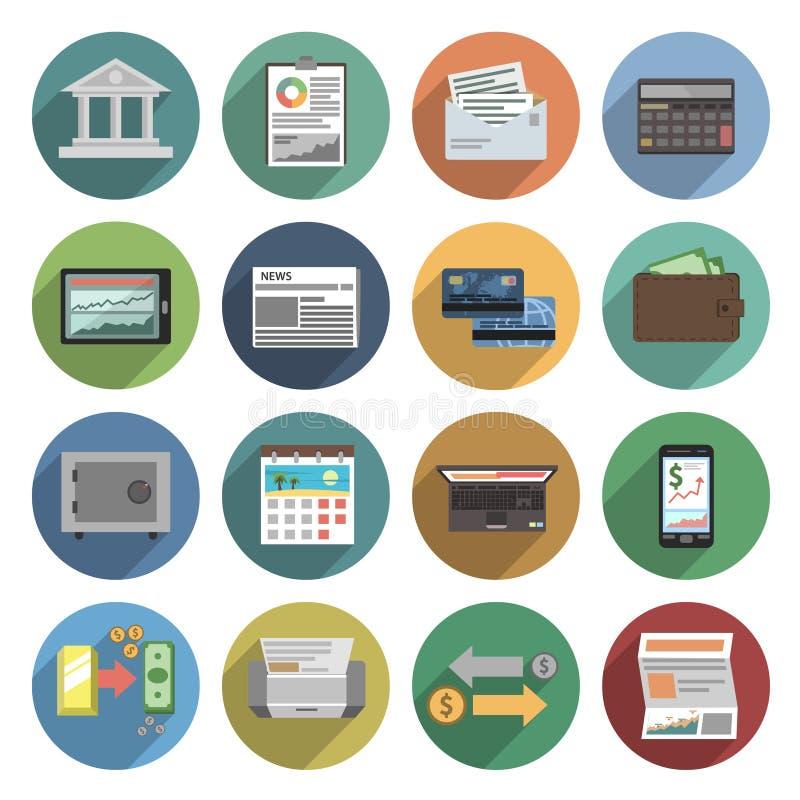 Grupo do plano dos ícones do banco ilustração stock