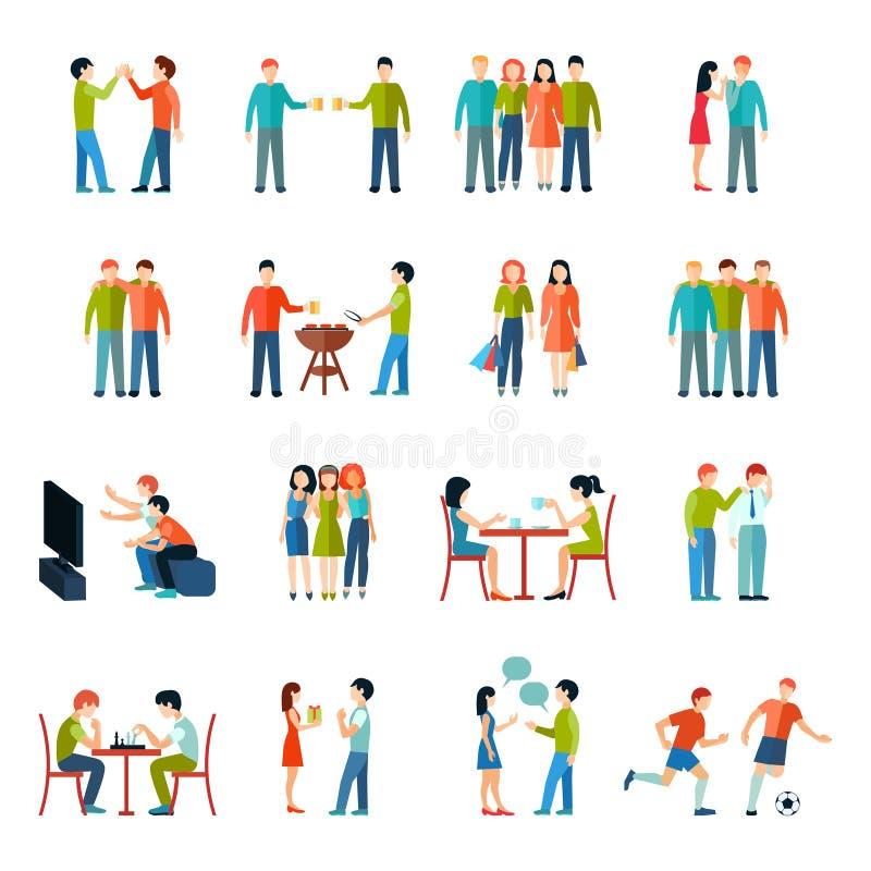 Grupo do plano dos ícones dos amigos ilustração do vetor