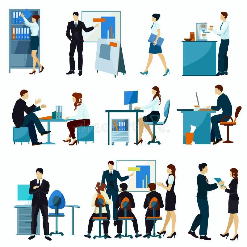 Grupo do plano dos trabalhadores de escritório ilustração stock
