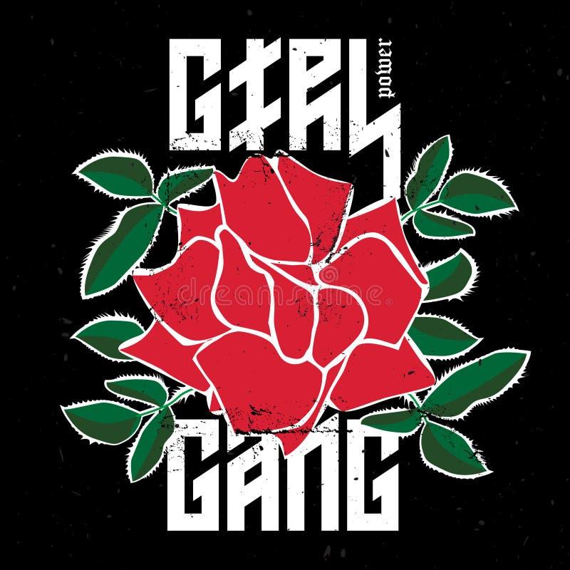 Grupo do poder da menina - forme o remendo ou o crachá Rosa vermelha com espinhos a ilustração stock