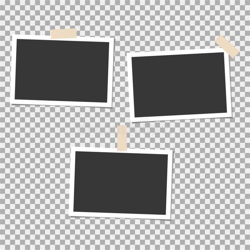 Grupo do Polaroid de quadro da foto com a fita pegajosa no fundo cinzento Molde, placa para sua foto na moda ilustração stock