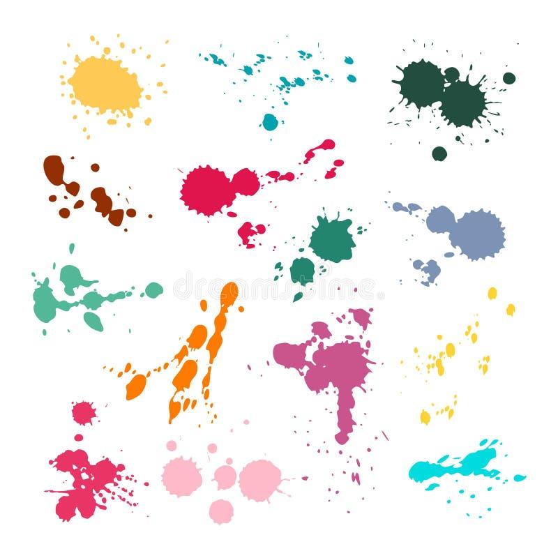 Grupo do ponto da tinta da cor O respingo e as cores da gota, mancha colorida pintam a coleção colorida de mancha do vetor da man ilustração do vetor